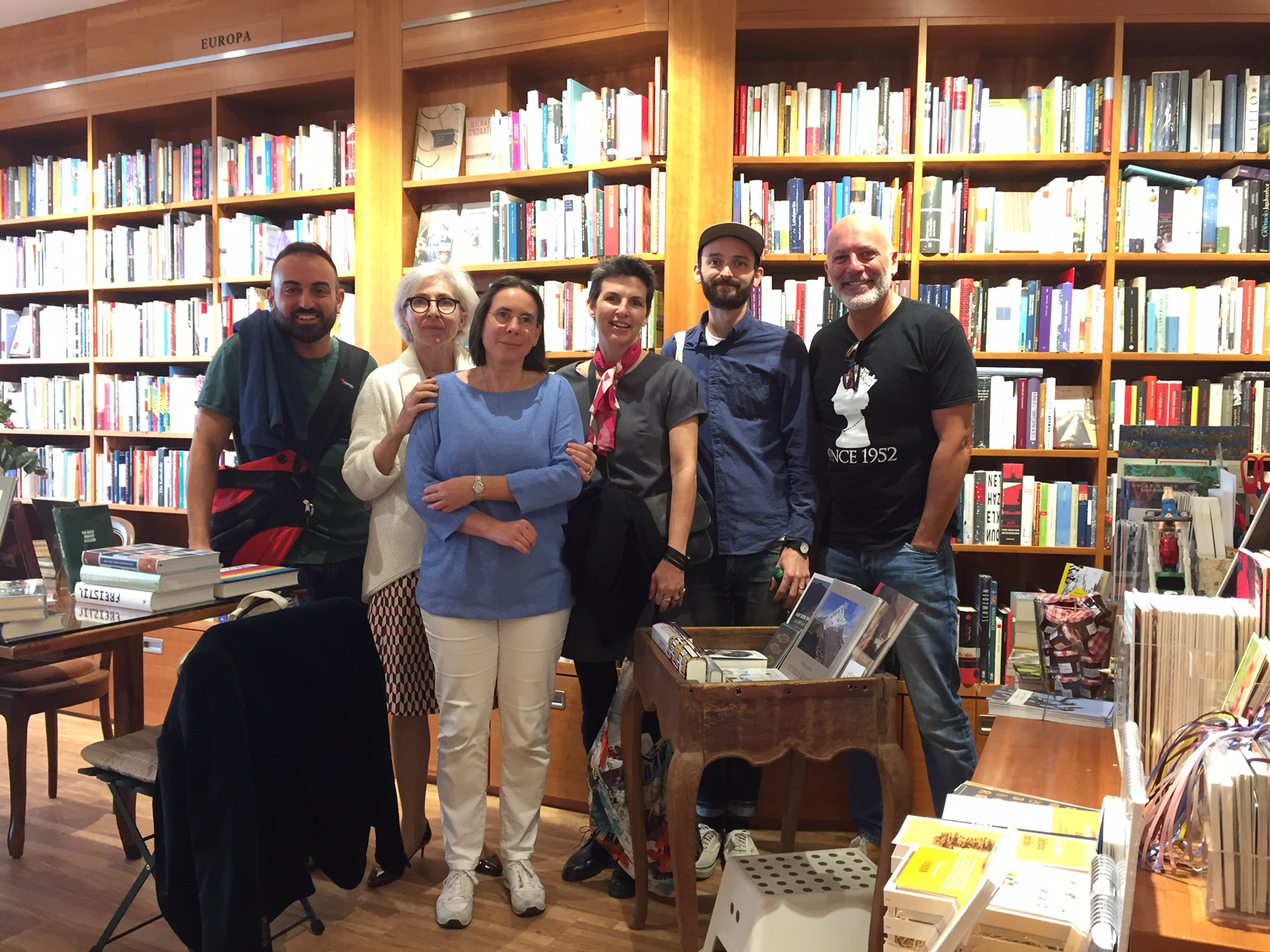 Lyn Roberts and Dylan Brown at Frankfurt bookstore
