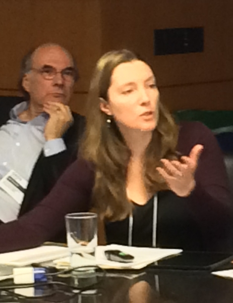 ABA's Teicher listens to a report by AIB coordinator and Institute for Local Self-Reliance co-director Stacy Mitchell.