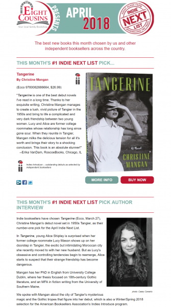 April Indie Next List e-newsletter