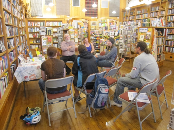 High school students discuss banned books at Maria's Bookshop.