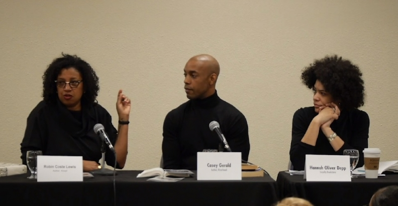 "Robin Coste Lewis speaks as Casey Gerald and Hannah Oliver Depp look on during the Wi14 session ""Author in Focus: Why James Baldwin Always Matters."""