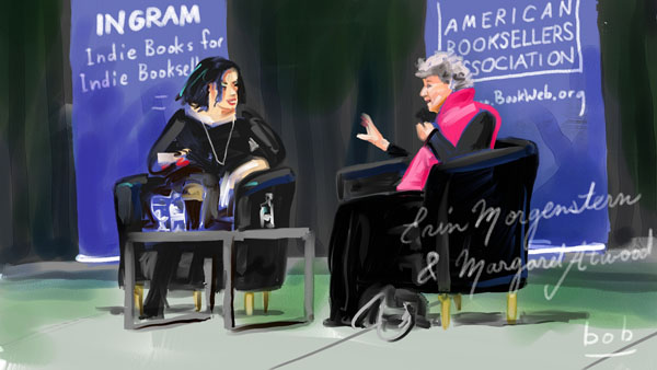Illustration of Erin Morgenstern and Margaret Atwood at Winter Institute 2019