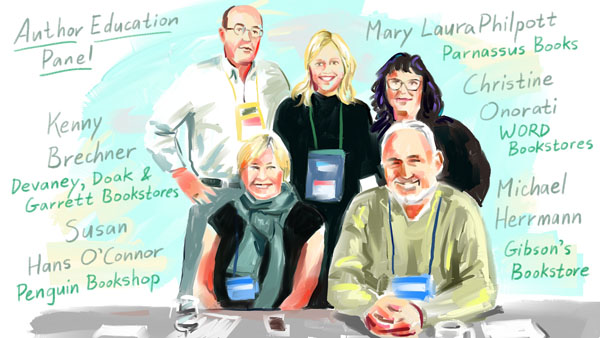 Illustration of panelists from a Winter Institute 2019 education session