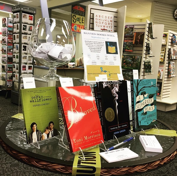Book People's Banned Books Week display.