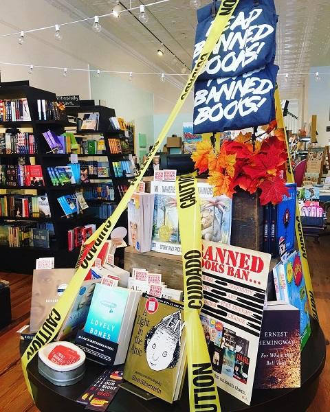 The Bookshelf's Banned Books Week display.