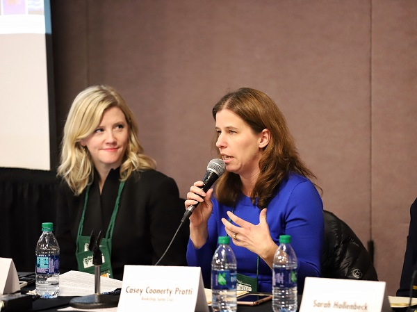 "Casey Coonerty Protti speaks at the session ""Yes She Can: Programs and Partnerships to Empower Women."""