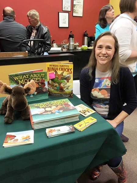 Rebecca J. Gomez signs copies of What About Moose? at Chapters Books & Gifts in Seward, Nebraska.