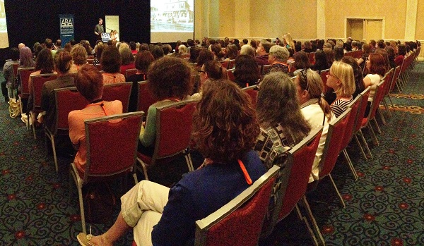 Booksellers pack the room for Jeff Kinney's opening plenary at Children's Institute.