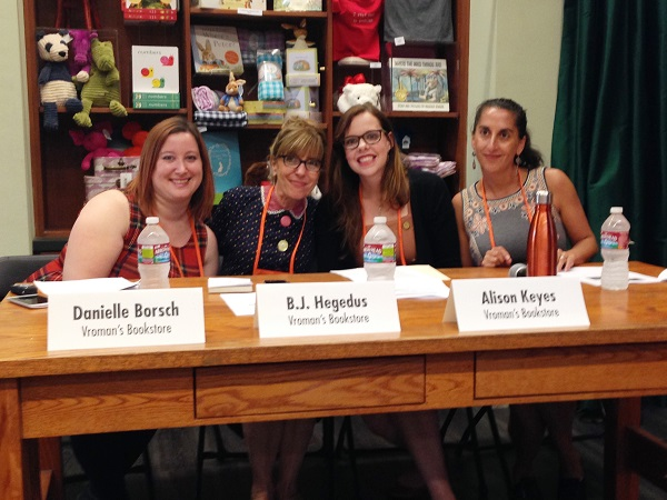 Panelists prepare to discuss buying and merchandising non-book items at an educational session at Vroman's.