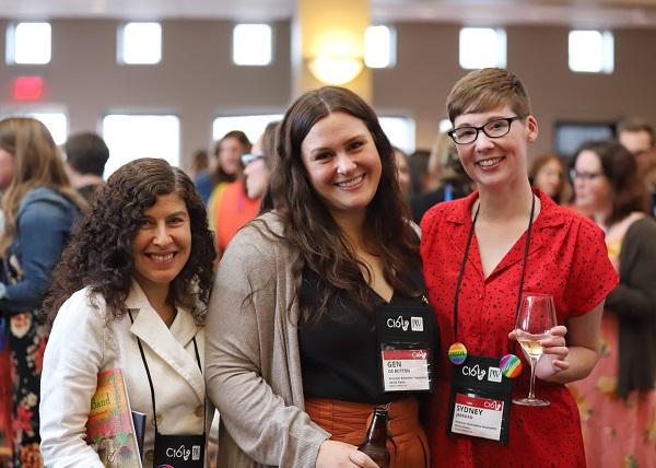 ABA staffers Liz Roberts, Gen de Botton, and Sydney Jarrard at the Author Reception.