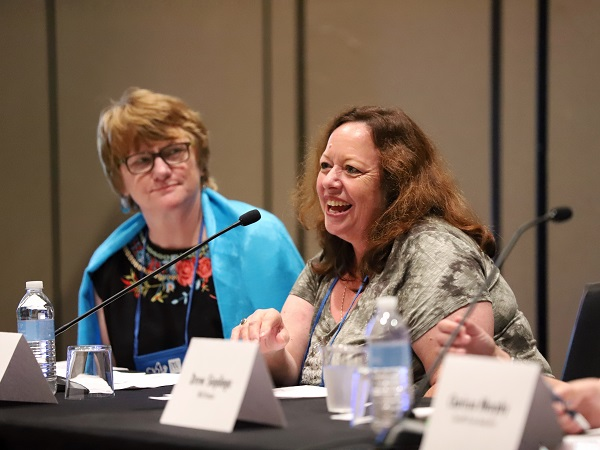 """Amy Thomas of Pegasus Books speaks on the """"Beyond the Bookstore"""" panel."""