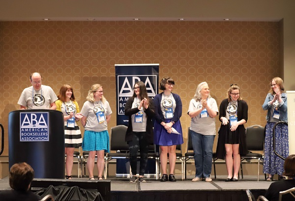 The indie bookseller panelists who served on the kids' Summer/Fall Indies Introduce committee (wearing team T-shirts).