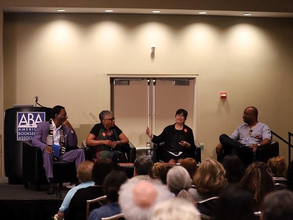 "Wade Hudson, Cheryl Willis Hudson, Phoebe Yeh, and Kwame Alexander discussing ""We Rise!"""