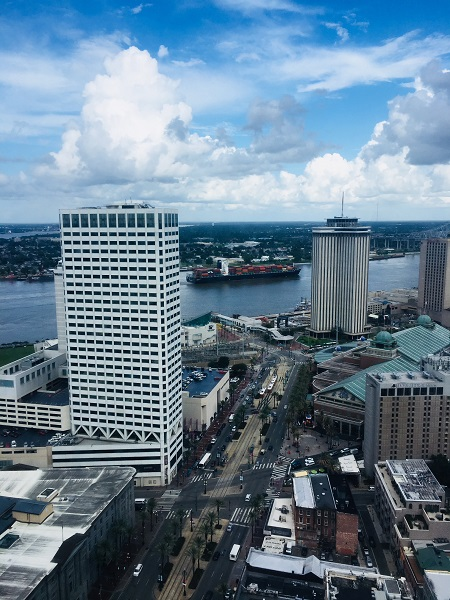 Looking toward the Mississippi from the Sheraton New Orleans.