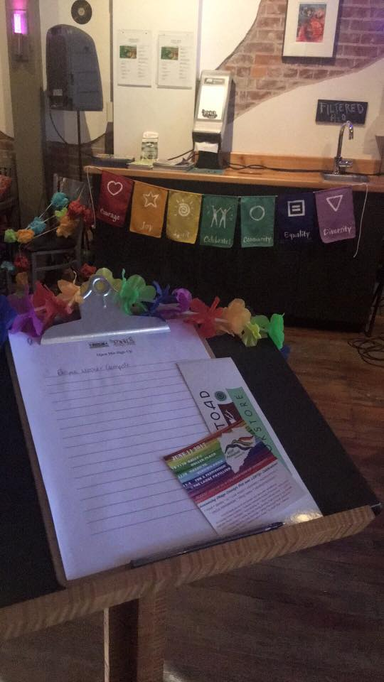 The Green Toad Bookstore in Oneonta, New York, hosted a PrideFest open mic at nearby Roots Brewing Company.