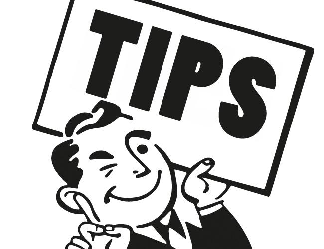 "Cartoon man holding ""tips"" sign"