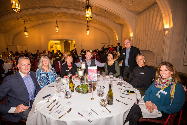 Bercu and friends at the Booksellers NZ industry awards banquet.