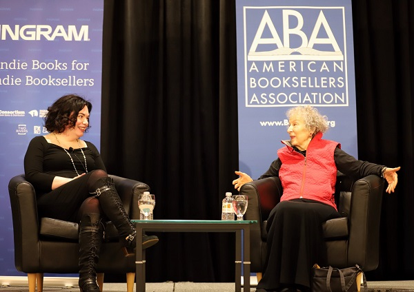 Margaret Atwood talks with Erin Morgenstern at Thursday's breakfast keynote.
