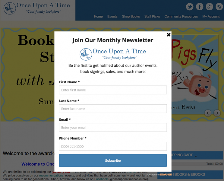 Once Upon A Time invites customers to subscribe to its e-mail newsletter.