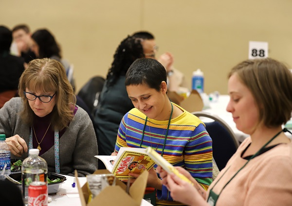 Booksellers enjoy their Speed Dating Lunch with publisher reps.