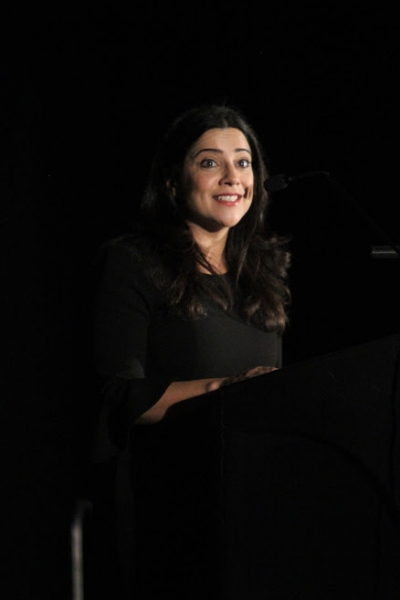 Author and Girls Who Code CEO Reshma Saujani addresses booksellers at Winter Institute.