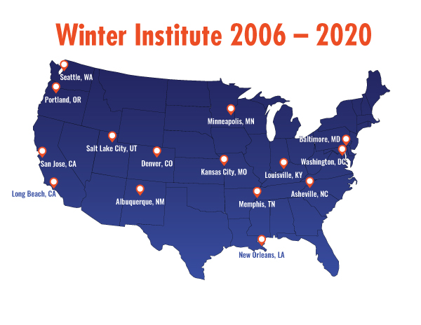 Winter Institute locations from 2006 to 2020