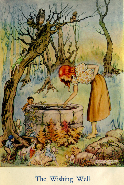 "Vintage illustration of girl looking down a well, labeled ""The Wishing Well"""