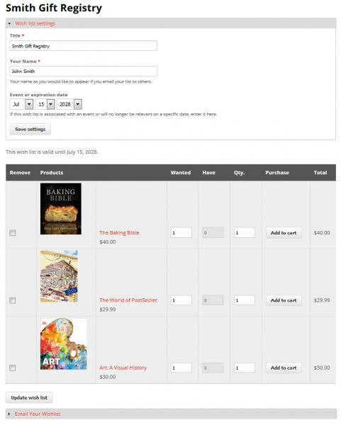 An example of an IndieCommerce wish list used as a gift registry