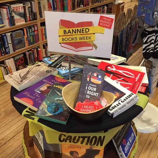 Zenith Bookstore's Banned Books Week display.