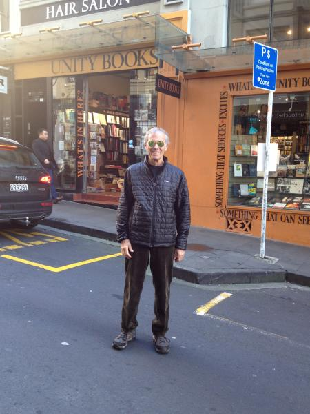 Steve Bercu in front of Unity Books in Auckland, New Zealand.