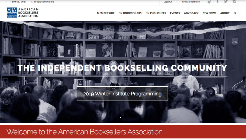 The new BookWeb's homepage