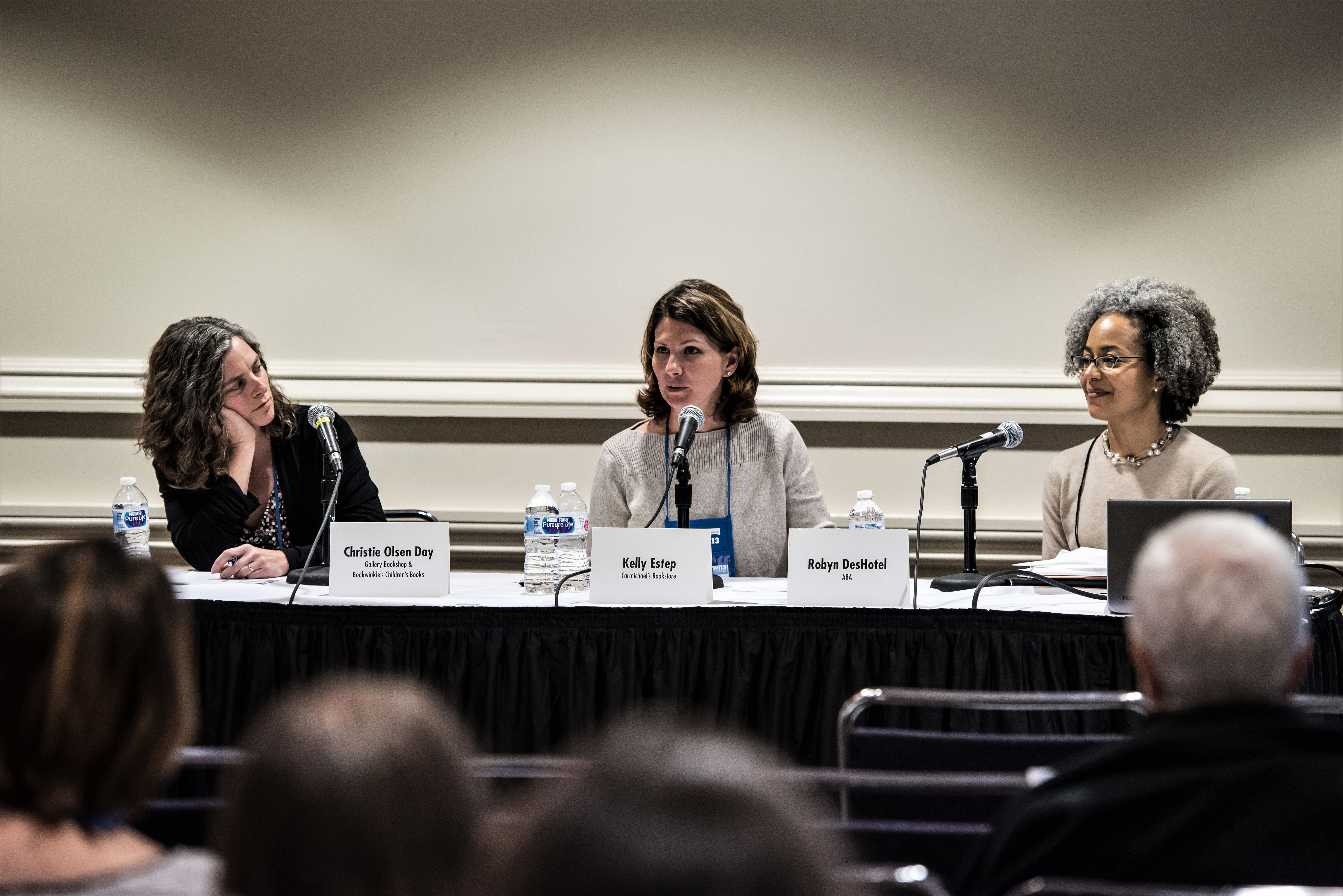Booksellers Christie Olsen Day and Kelly Estep lead an educational session with ABA's Robyn DesHotel.