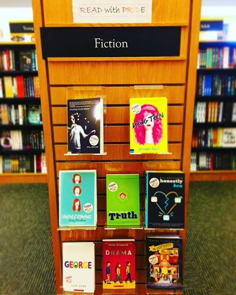 LGBTQ pride display at Gibson's Bookstore in Concord, New Hampshire