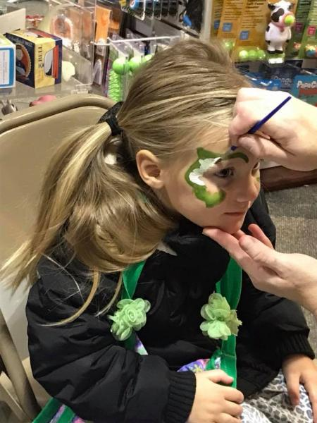 Face painting at Givens Books Little Dickens in Lynchburg, Virginia