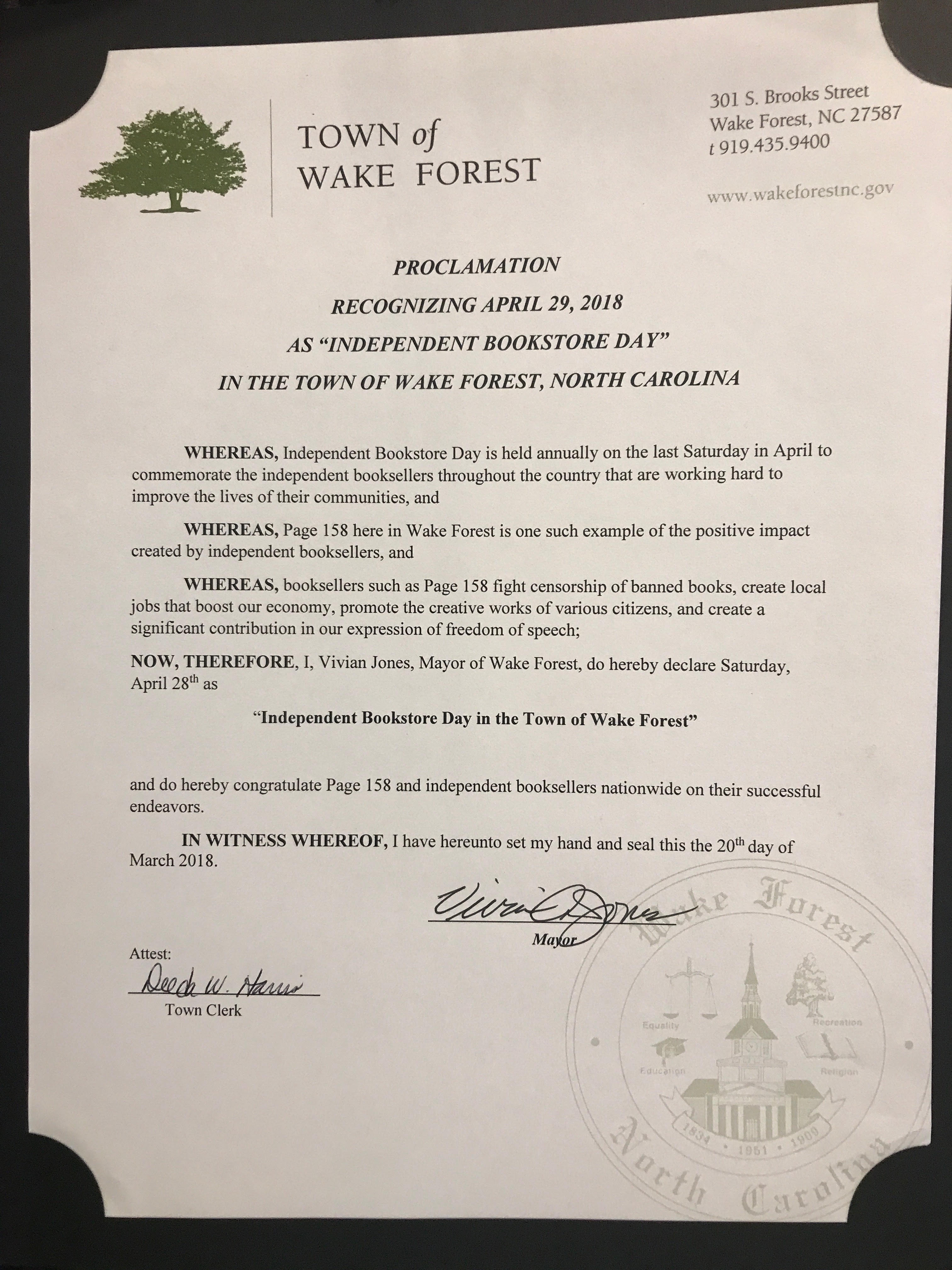 Wake Forest, North Carolina mayor Vivian Jones' proclamation for Independent Bookstore Day