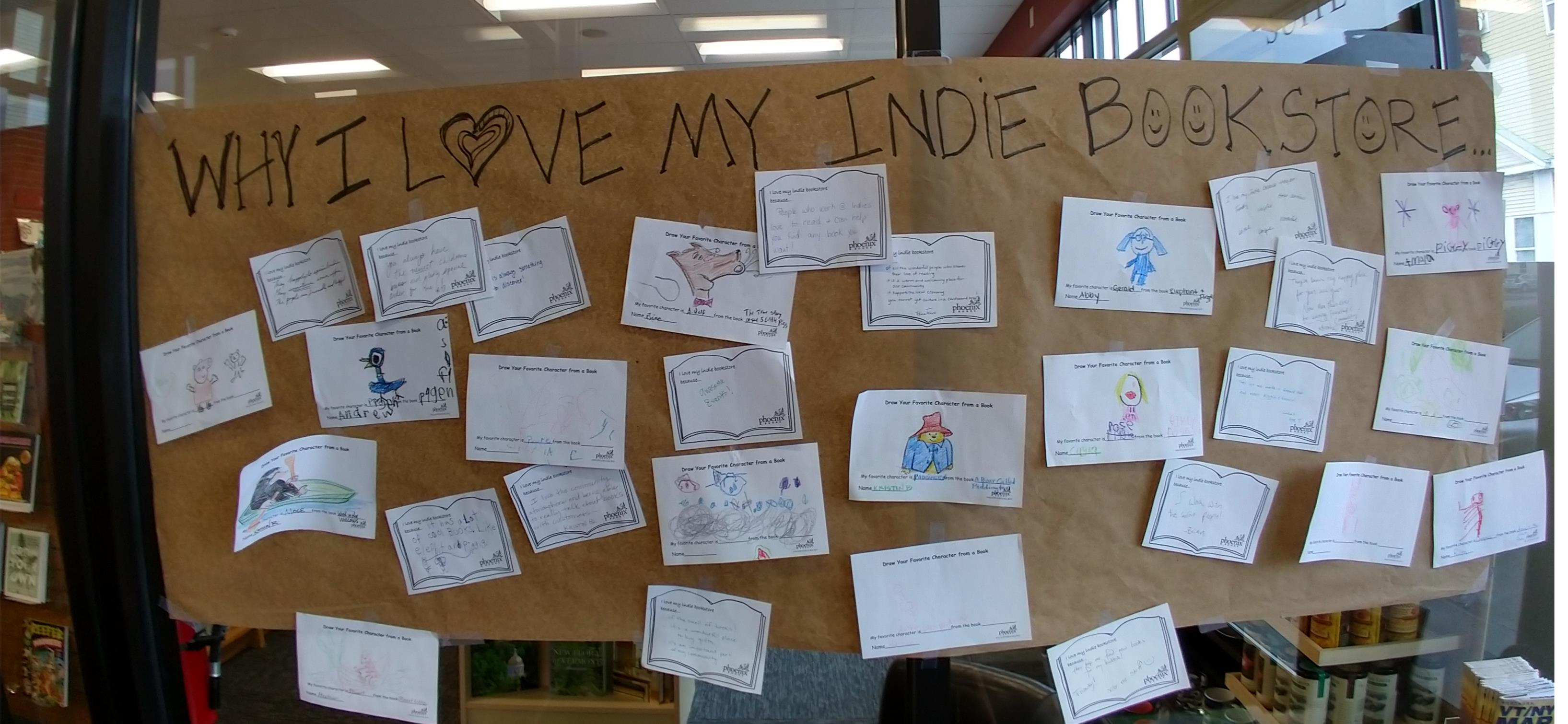 "At Phoenix Burlington, customers added their thoughts to the ""Why I love my indie"" display."