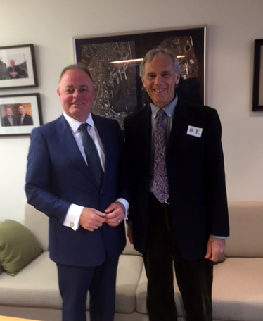 New Zealand Government Small Business Minister Honorable Craig Foss and Steve Bercu at New Zealand's Parliament.