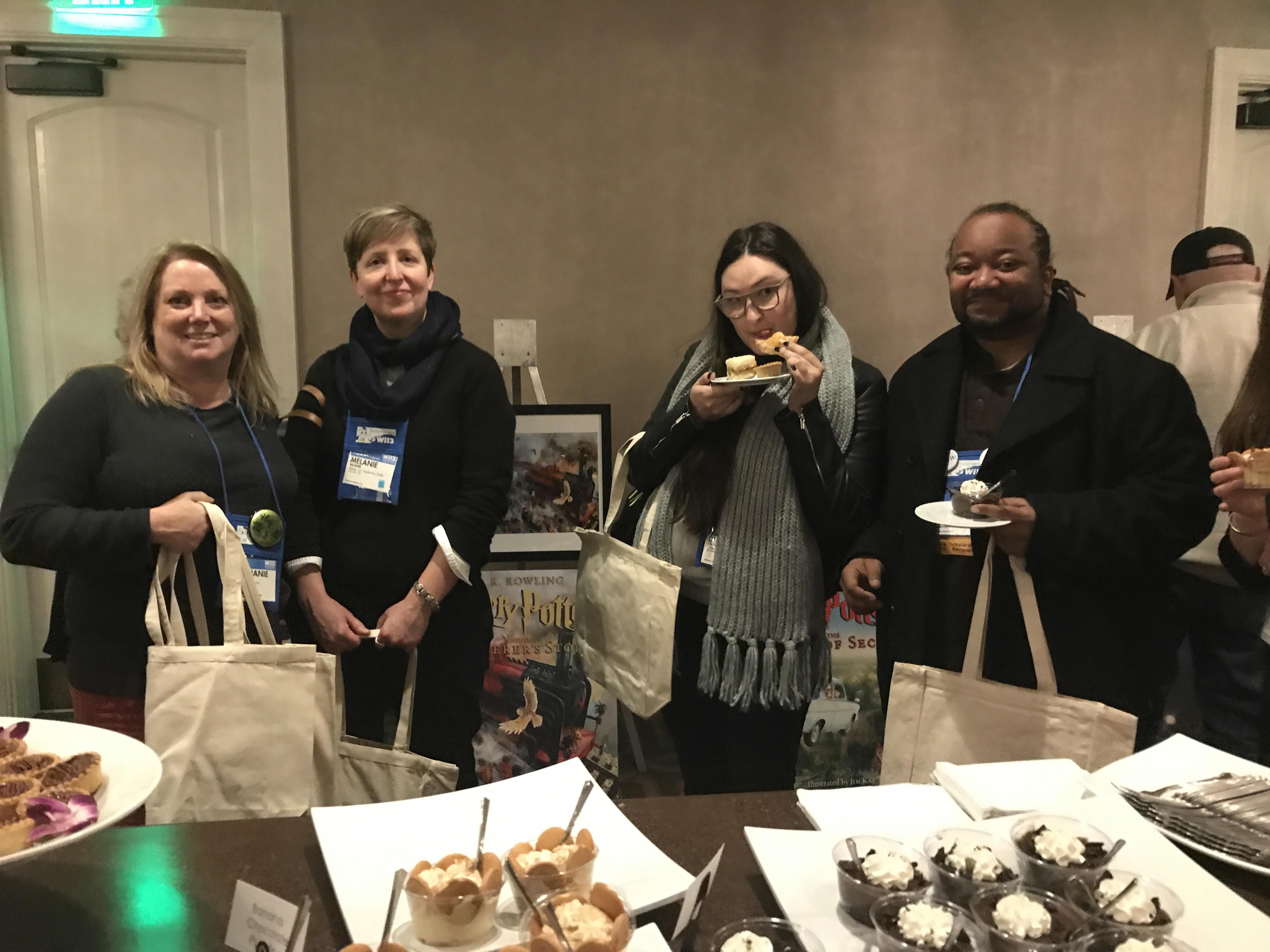 Stephanie Gordon, Melanie McNair, Destenie Fafard, and Robert Turner at the Scholastic Meet & Treat After Party.