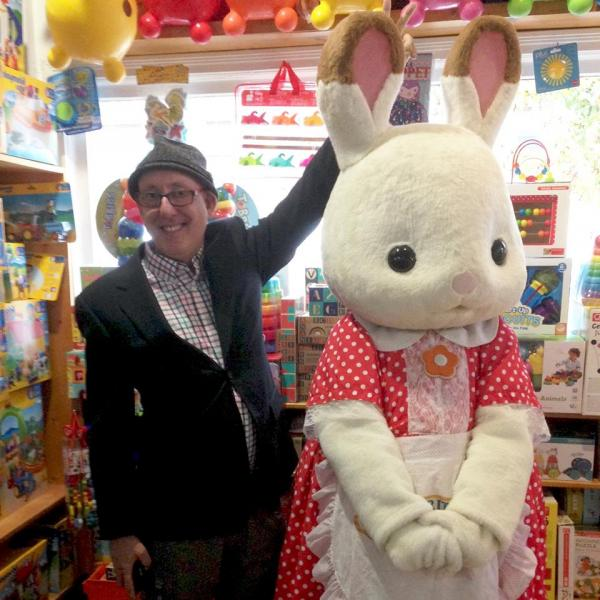 A costumed Calico Critter made an appearance at Teaching Toys & Books in Tacoma, Washington.