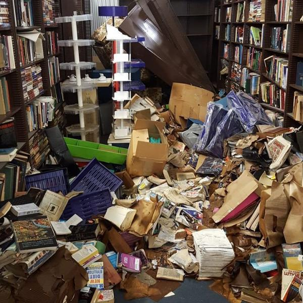 Cavalier House Books' warehouse was damaged by four and a half feet of floodwater.
