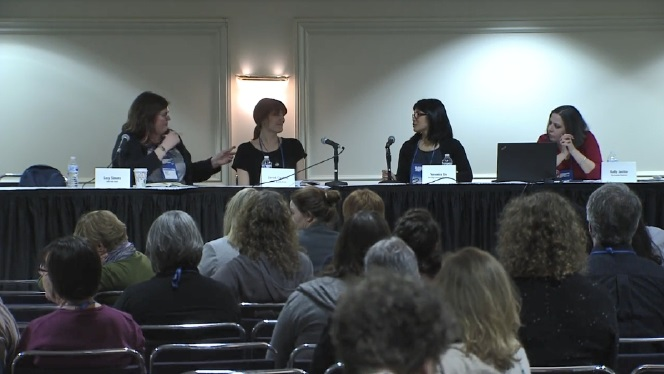The Wi13 Small Stores, Big Clout panel: moderator Lacy Simons, Janet Geddis, Veronica Liu, and Kelly Justice
