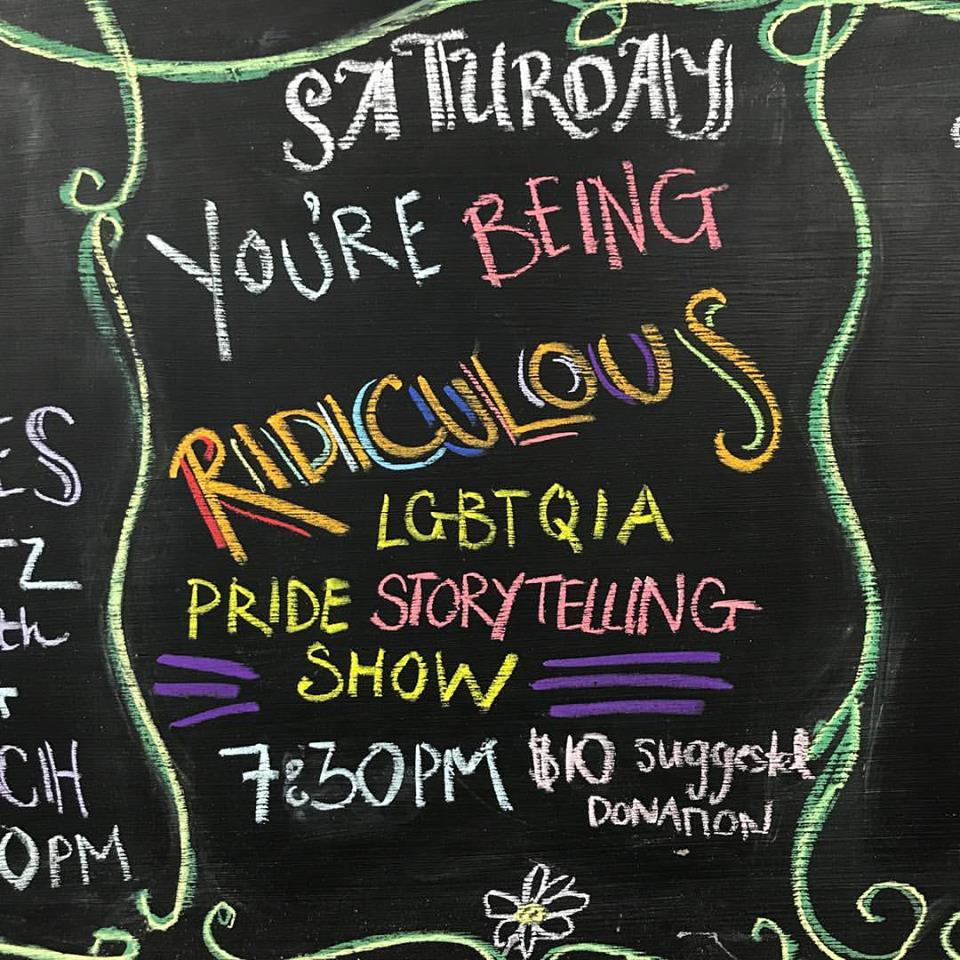 Women & Children First advertises the store's LGBTQIA Pride Storytelling Show.