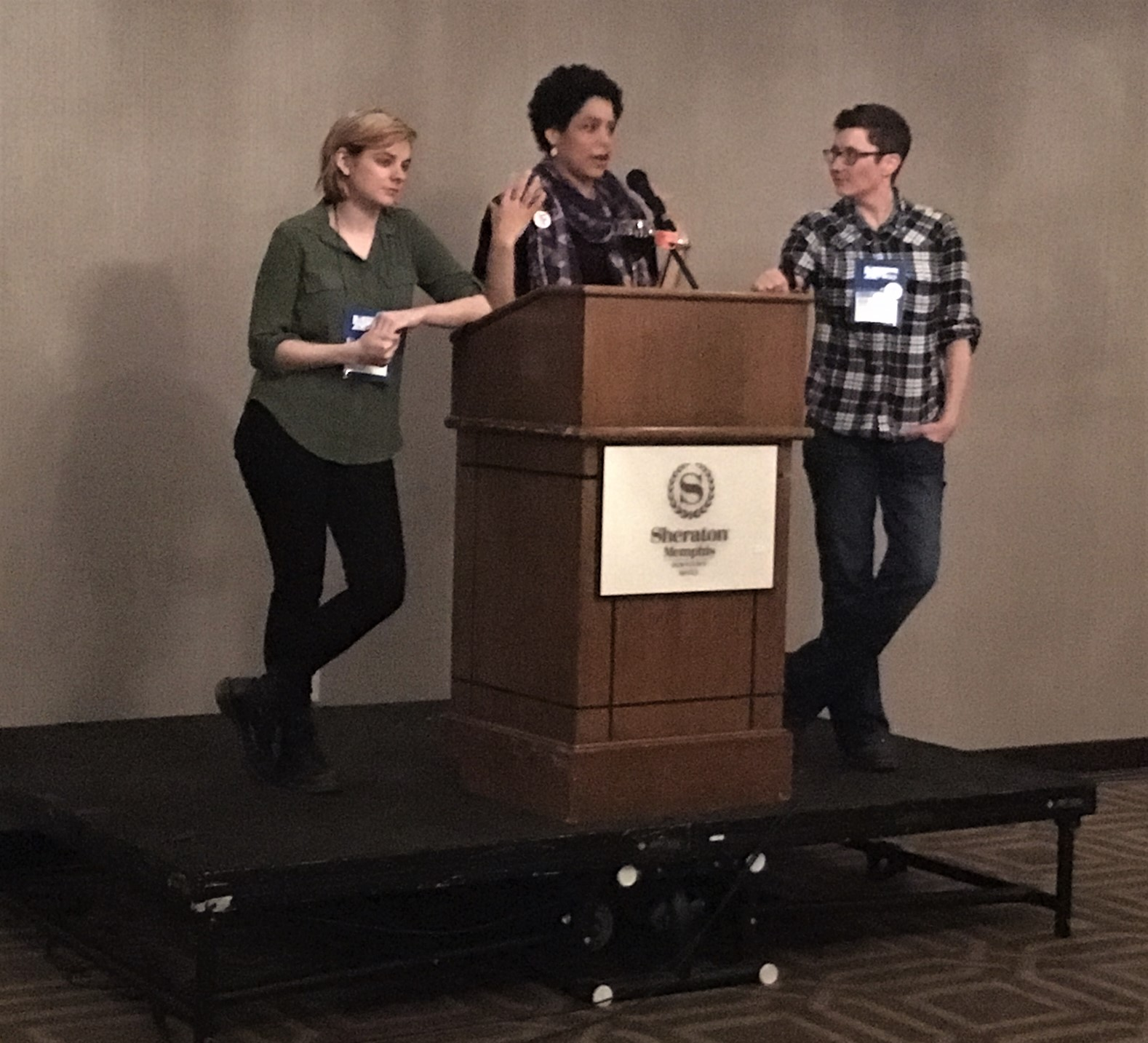 Emma Nichols, Hannah Oliver Depp, and Kim Hooyboer welcome young and new booksellers.