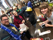 Authors Brooks Benjamin, left, and Hannah E. Rials, right, at Star Line Books.