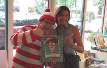 A customer finds a live Waldo at Brazos Bookstore.