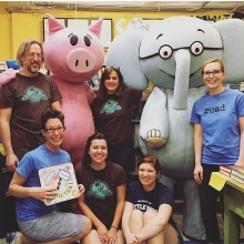 In Decatur, Georgia, the Little Shop of Stories team poses with Mo Willems' Elephant and Piggie.