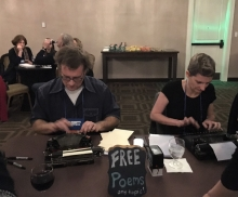 The writers of Typewriter Rodeo created on-the-spot poems for the Young Professionals After Party.