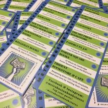 Check-off cards for the Metro Boston Bookstore Day book crawl.