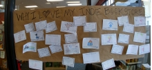 """At Phoenix Burlington, customers added their thoughts to the """"Why I love my indie"""" display."""
